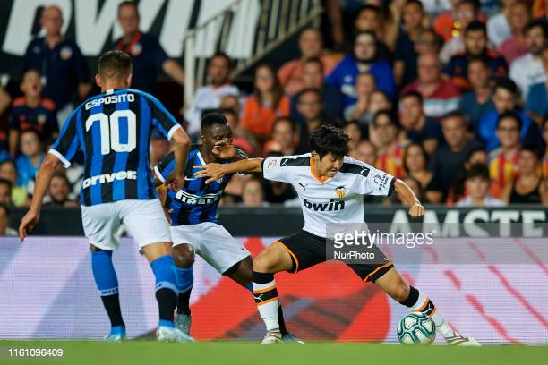 Kangin Lee of Valencia in action during the preseason friendly match between Valencia CF and FC Internazionale at Estadio Mestalla on August 10 2019...