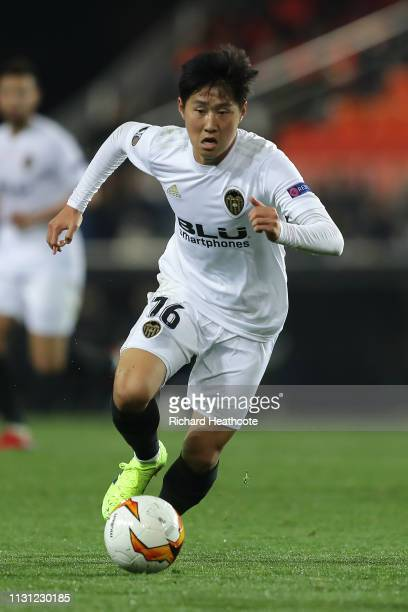 Kangin Lee of Valencia in action during the UEFA Europa League Round of 32 Second Leg match between Valencia v Celtic at Estadio Mestalla on February...