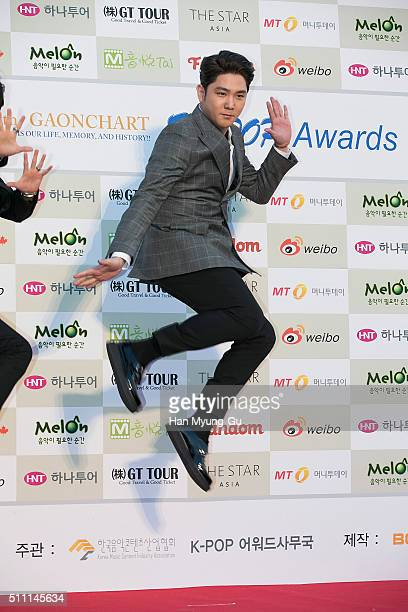 Kangin of South Korean boy band Super Junior attends the 5th Gaon Chart KPop Awards on February 17 2016 in Seoul South Korea