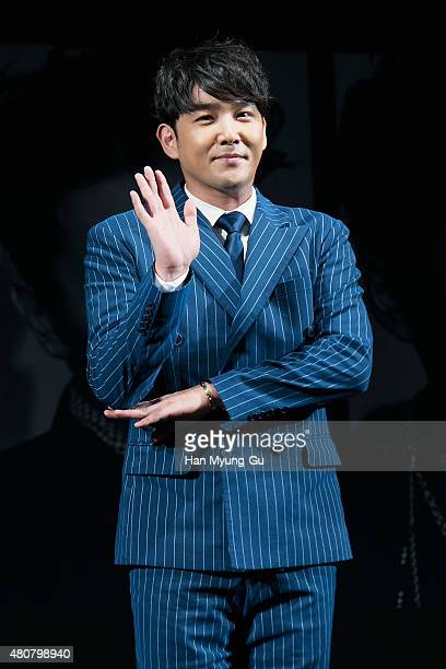 Kangin of South Korean boy band Super Junior attends the press conference for SM Entertainment's Super Junior 10th Anniversary Special Album 'Devil'...