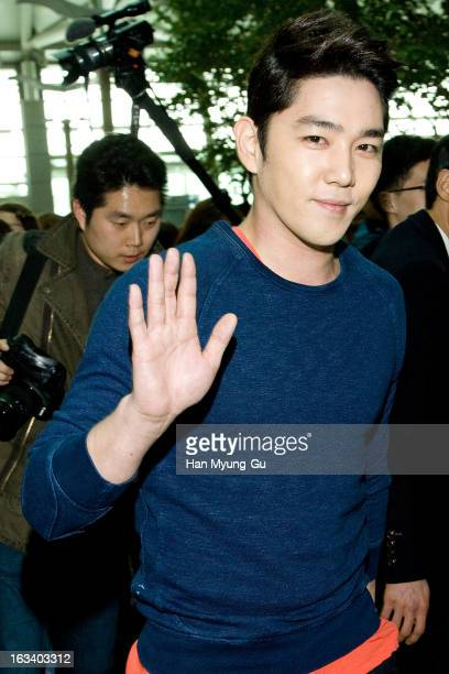 Kangin of South Korean boy band Super Junior is seen on departure at Incheon International Airport on March 8, 2013 in Incheon, South Korea.