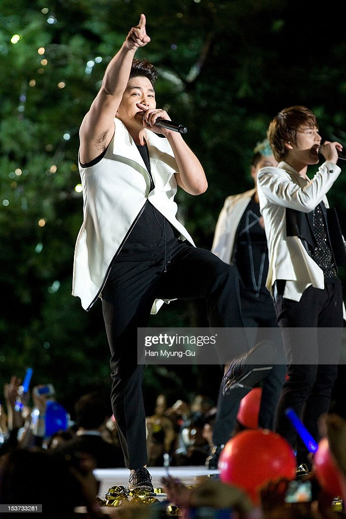 Kangin of South Korean boy band Super Junior performs onstage during the 2012 Gangnam Festival on October 7, 2012 in Seoul, South Korea.