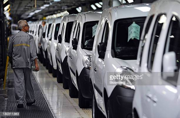 Kangoo automobiles stand on the assembly line at the Renault SA factory in Maubeuge France on Tuesday Oct 25 2011 Renault SA Chief Executive Officer...