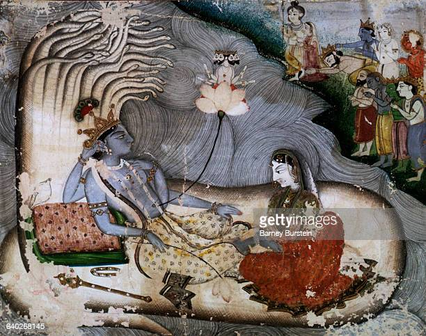 Kangra Painting of Krishna and Radha Resting on the Belly of Kaliya