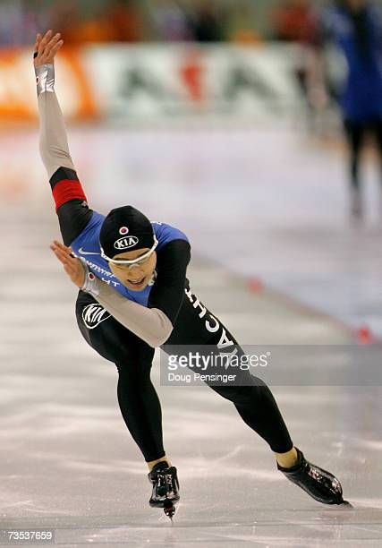 KangSeok Lee of Korea skates in the second race as he set a new world record and won the gold medal in the Men's 500m at the 2007 ISU World Single...