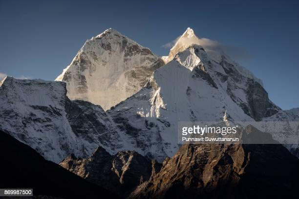 Kangtega mountain peak in morning sunrise, Everest region, Nepal