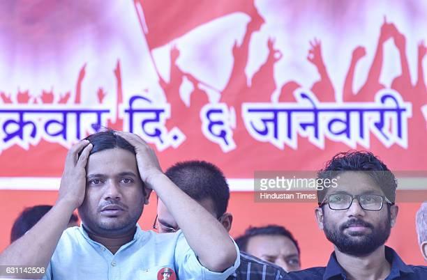 Kanhaiya Kumar former President of Jawaharlal Nehru University Students' Union and Dalit leader Jignesh Mewani at Azad Maidan to protest and support...