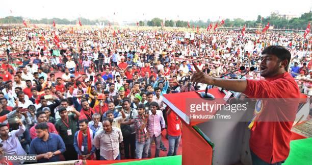 Kanhaiya Kumar leader Communist Party of India addresses the rally Bhajpa Harao Desh Bacchao organized by Communist Party of India at Gandhi Maidan...