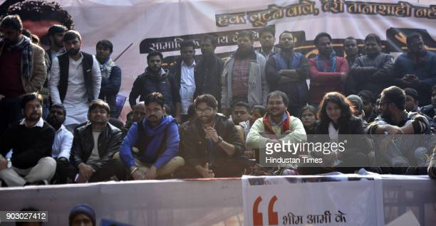 Kanhaiya Kumar Vinay Ratan Singh of Bhim Army Dalit leader and Gujarat lawmaker Jignesh Mevani with Akhil Gogoi peasant leader and RTI activist from...