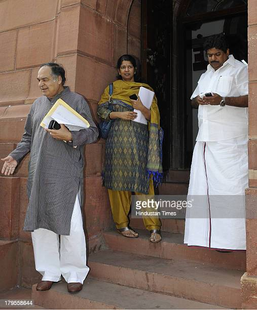 Kanimozhi with other MPs after attending the ongoing Parliament Monsoon Session on September 5 2013 in New Delhi India The Monsoon Session of...