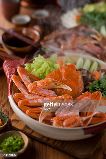 kani-nabe - chionoecetes opilio stock photos and pictures