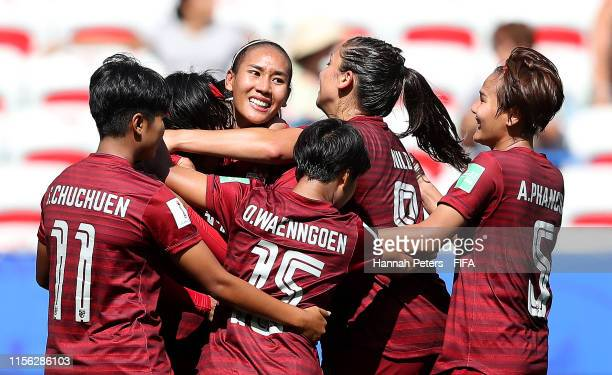 Kanjana Sung-Ngoen of Thailand celebrates with teammates after scoring her team's first goal during the 2019 FIFA Women's World Cup France group F...