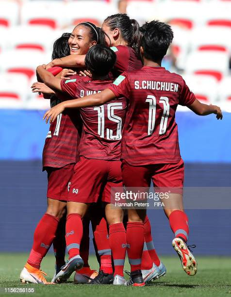 Kanjana SungNgoen of Thailand celebrates with teammates after scoring her team's first goal during the 2019 FIFA Women's World Cup France group F...