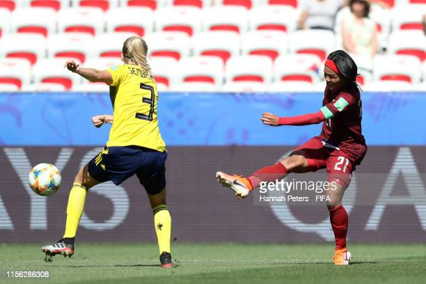 Kanjana SungNgoen of Thailand scores her team's first goal during the 2019 FIFA Women's World Cup France group F match between Sweden and Thailand at...