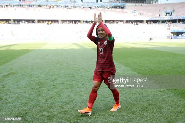 Kanjana Sung-Ngoen of Thailand shows appreciation to the fans following her team's defeat in the the 2019 FIFA Women's World Cup France group F match...