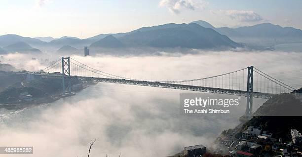 Kanmon Strait is covered with fog on November 25 2009 in Shimonoseki Yamaguchi Japan