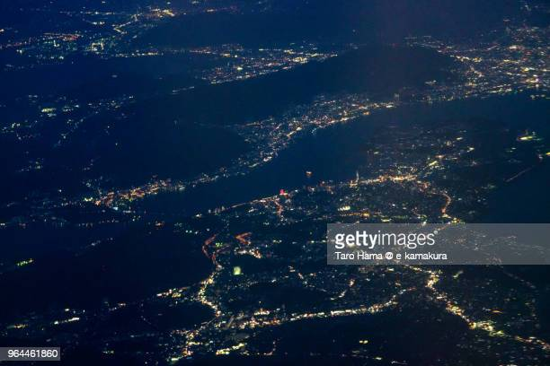 Kanmon Straits night time aerial view from airplane