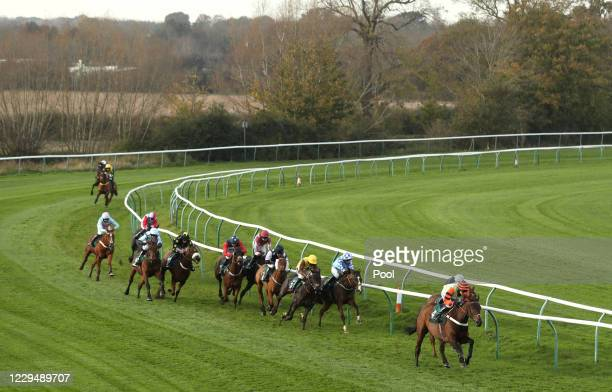 Kannapolis ridden by Tom Cannon on their way to winning the Bet At racingtv.com Handicap Hurdle at Warwick Racecourse on November 6, 2020 in Warwick,...