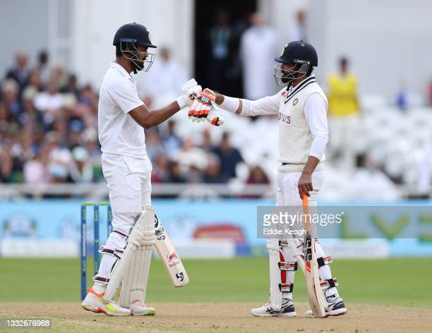 Kannaur Rahul and kan of India during day three of the First LV= Insurance test match between England and India at Trent Bridge on August 05, 2021 in...