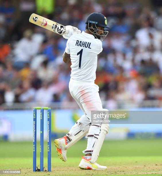 Kannaur Rahul of India bats during day one of the First Test Match between England and India at Trent Bridge on August 04, 2021 in Nottingham,...
