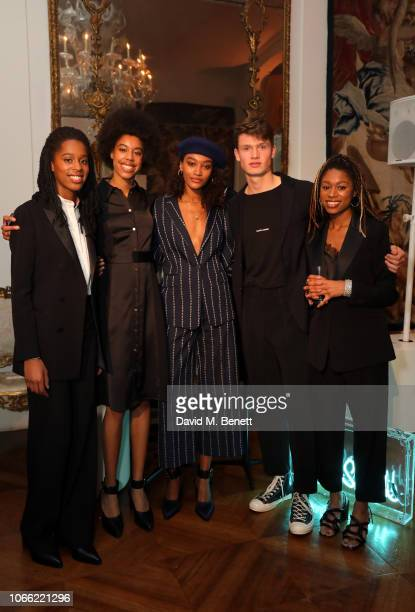 Kanneh Mason Trio Cheyenne Maya Carty and Ruben Reich attend Paul Smith Womens Tuxedo Launch at the Italian Embassy on November 28 2018 in London...