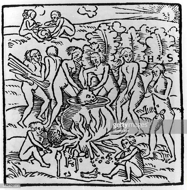 Kannibalismus bei den Tupinambas derbrasilianischen Nordostküstenregion.Holzschnitt aus 'Wahrhaftige Historia'des Hans Staden, Marburg 1557.