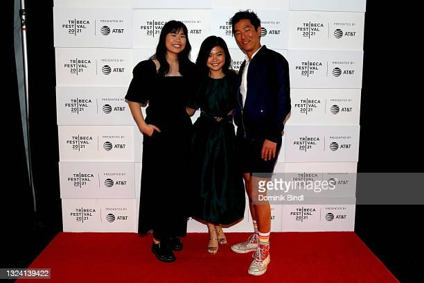 """Kannon Omachi, Miya Cech and Leonardo Nam attend the 2021 Tribeca Festival premiere of """"Marvelous And The Black Hole"""" at at Pier 76 on June 17, 2021..."""