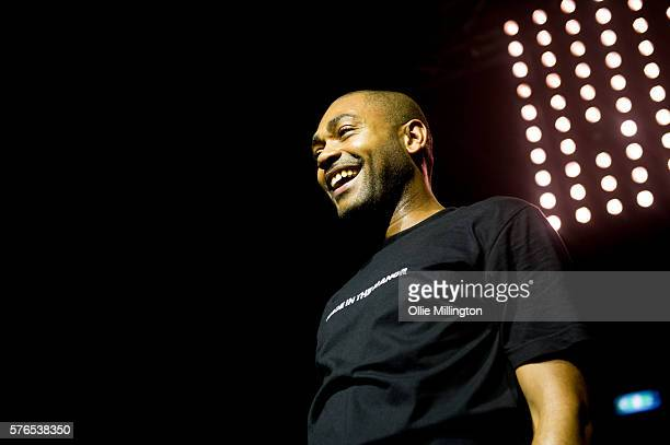 Kano perfoms a headline show at the end of Day 1 of Lovebox Festival at Victoria Park on July 15 2016 in London England