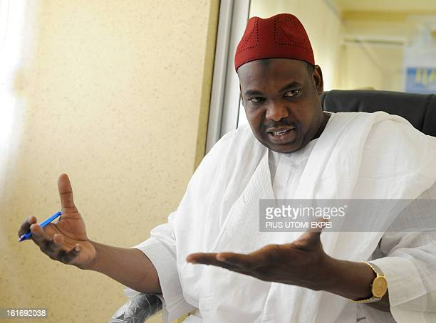 Kano State Health Commissioner Abubakar Labaran Yusuf speaks on the campaign against polio in northern Nigerian Kano State on February 11 2013 Health...