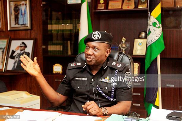 Kano state police commissioner Ibrahim Idris speaks to journalists in his office in northern Nigerian city of Kano on January 24 2012 Police said...