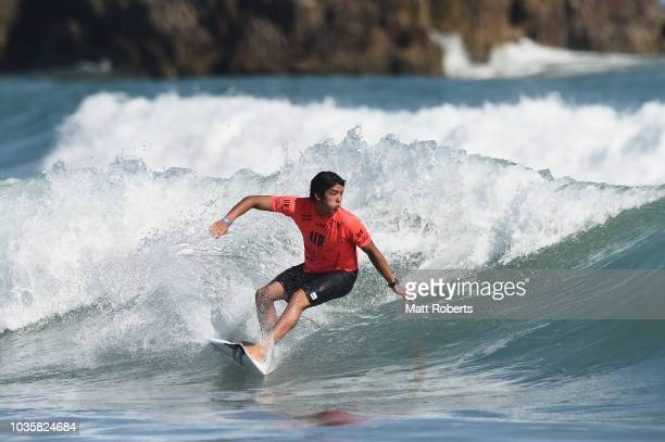 Kanoa Igarashi of Japan competes in Men's Final during the ISA World Surfing Games at the Pacific Long Beach on September 19 2018 in Tahara Aichi...