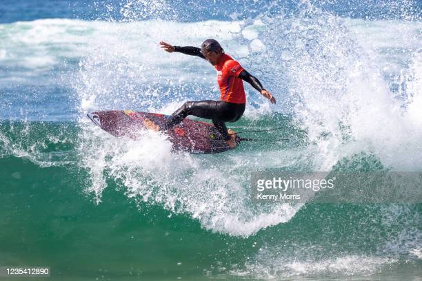Kanoa Igarashi of Japan surfs in Heat 1 of the Round of 96 at the US Open of Surfing Huntington Beach presented by Shiseido on September 21, 2021 at...