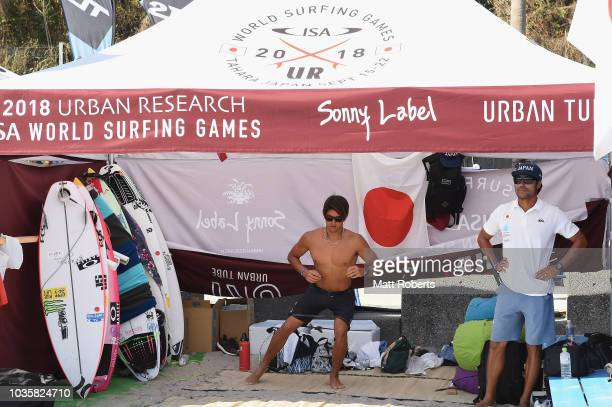 Kanoa Igarashi of Japan warm up before Men's Final during the ISA World Surfing Games at the Pacific Long Beach on September 19 2018 in Tahara Aichi...