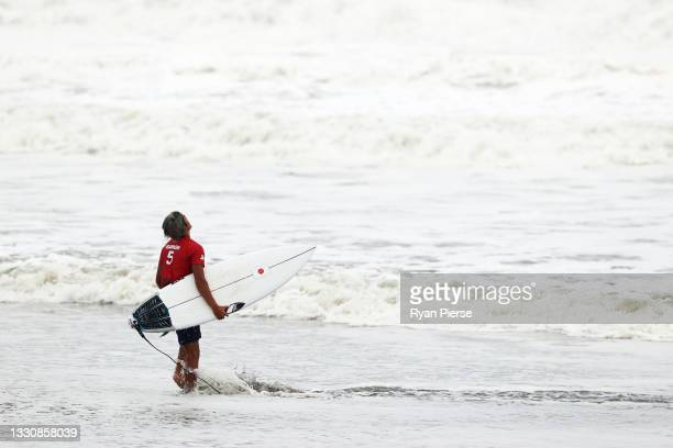 Kanoa Igarashi of Team Japan looks dejected after his loss in the men's Gold Medal match against Italo Ferreira of Team Brazil on day four of the...