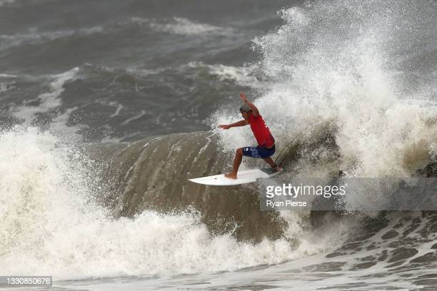 Kanoa Igarashi of Team Japan surfs during the men's Gold Medal match on day four of the Tokyo 2020 Olympic Games at Tsurigasaki Surfing Beach on July...