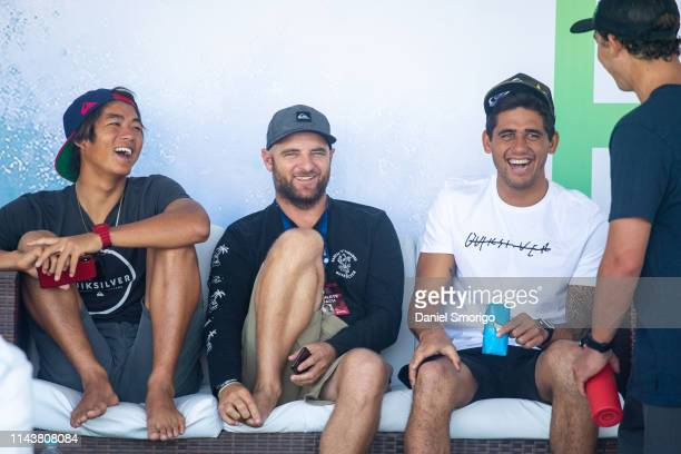 Kanoa, Jake, Zeke and Griffin having fun in the athletes area at the Oi Rio Pro in Saquarema, Rio de Janeiro, BRA.