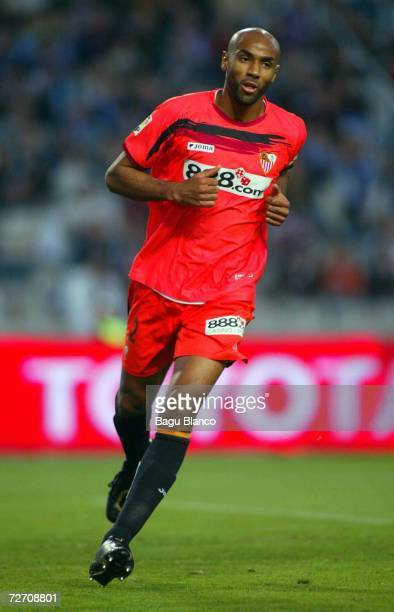 Kanoute of Sevila celebrates his goal during the match between Espanyol and Sevilla of La Liga on December 3 2006 at the Lluis Companys stadium in...