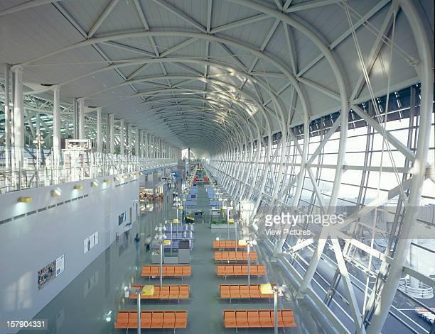 Kansai Airort Osaka Japan Architect Renzo Piano Building Workshop Kansai Airort Dramatic Overhead View Looking Along The Inside Of The Curving...