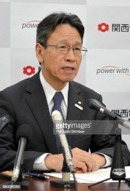 Kansai Electric Power Co President Shigeki Iwane speaks during a press conference after Fukui Prefecture Governor Issei Nishikawa gives a go to...