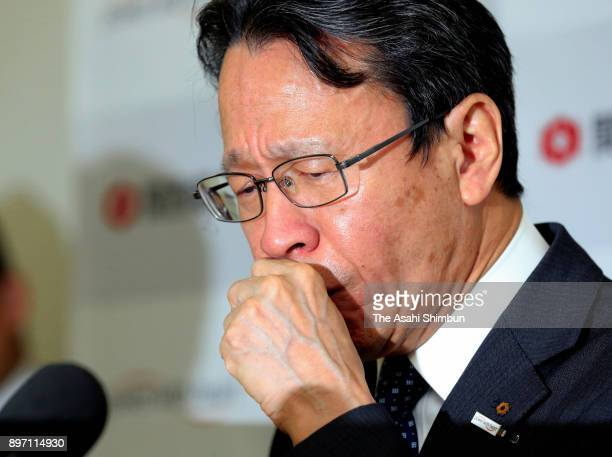 Kansai Electric Power President Shigeki Iwane speaks during a press conference on decommission of its Oi Nuclear Power Plant at the company...