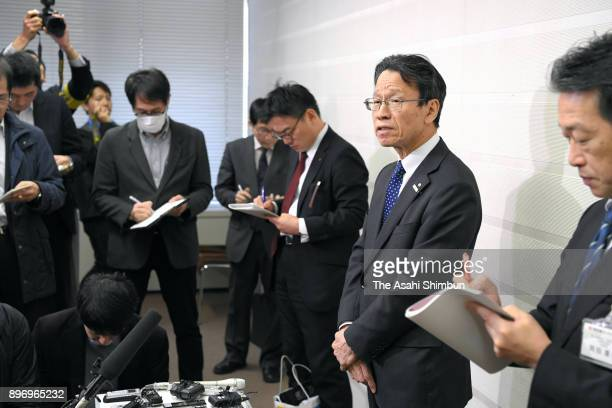 Kansai Electric Power President Shigeki Iwane speaks to media reporters after his meeting with Fukui Governor Issei Nishikawa about the decommission...