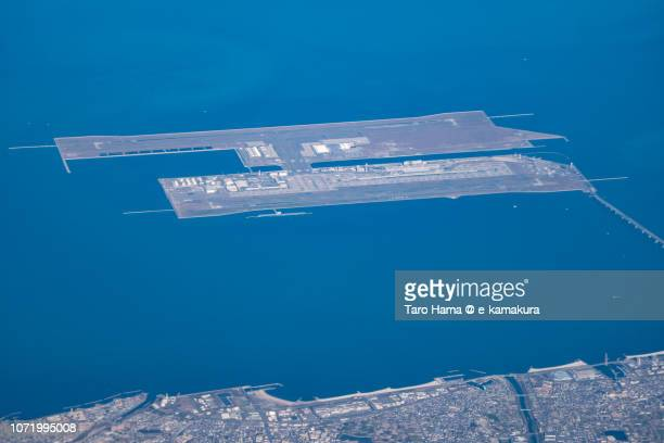 Kansai International Airport (KIX) in Osaka prefecture in Japan daytime aerial view from airplane