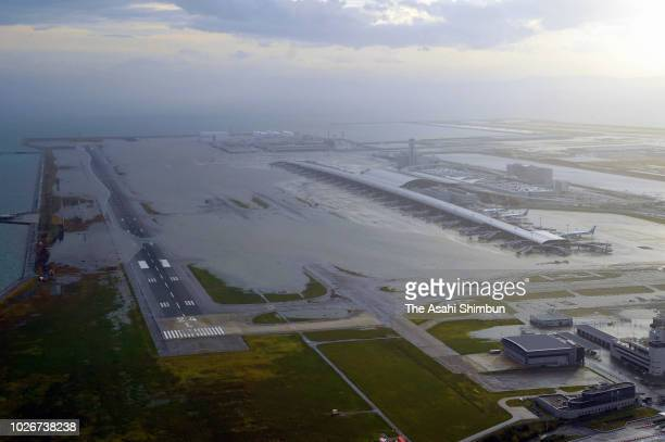 Kansai International Airport is submerged due to high tide triggered by Typhoon Jebi on September 4 2018 in Izumisano Osaka Japan The strongest...