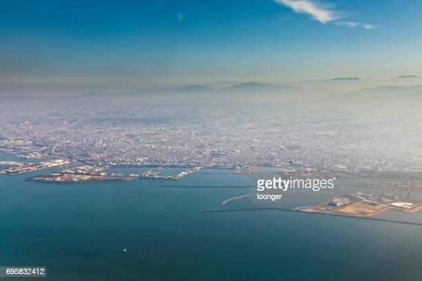 関西大阪日本飛行機から空撮