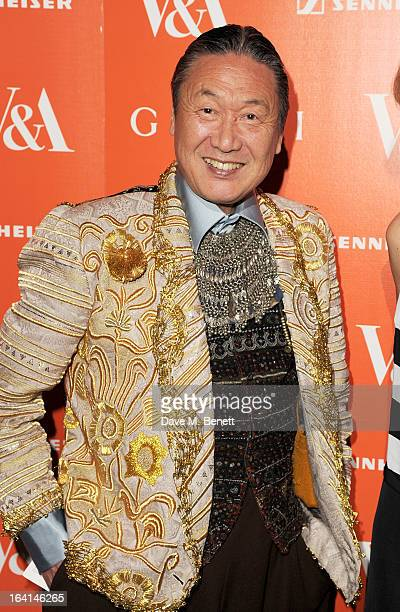 Kansai Yamamoto attends the private view for the 'David Bowie Is' exhibition in partnership with Gucci and Sennheiser at the Victoria and Albert...