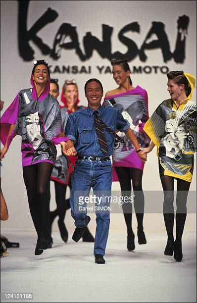 Kansai Yamamoto during the Fashion show ready to wear Spring summer 1991 in Paris France in October 1990 Kansai