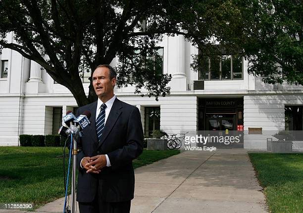 Kansas attorney general Steve Six answers questions from the media about the death of 14yearold Alicia DeBolt in Great Bend Kansas Monday August 30...