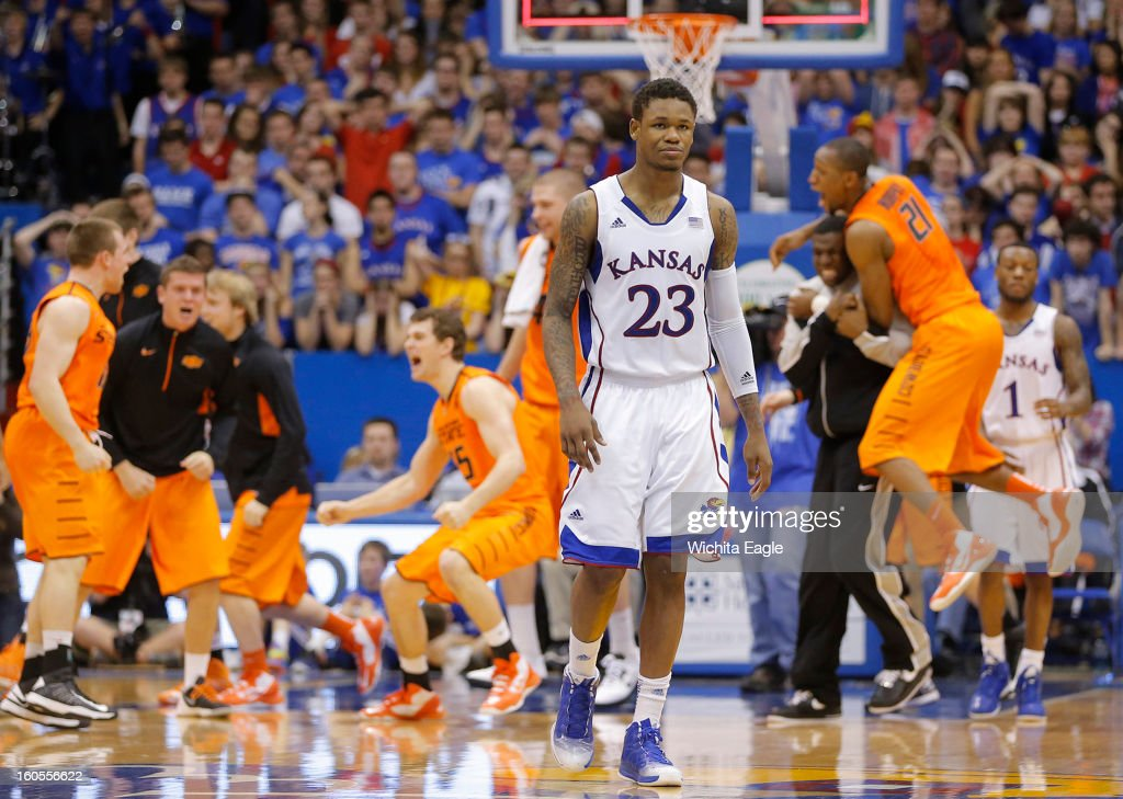 Kansas' Ben McLemore (23) walks off the court after the Jayhawks upset, 85-80, by Oklahoma State at Allen Fieldhouse in Lawrence, Kansas, on Saturday, February 2, 2013.