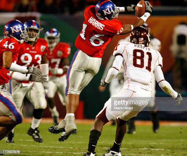 Kansas' Chris Harris intercepts a pass against Virginia Tech during the FedEx Orange Bowl in Miami Florida on Thursday January 3 2008