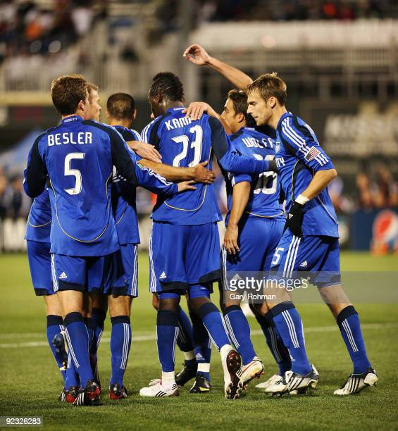 Kansas City celebrates after their first half goal from Kei Kamara of the KC Wizards vs the DC United at CommunityAmerica Ballpark on October 24 2009...